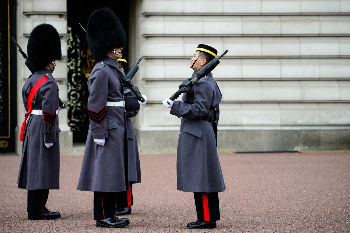 The @GurkhaEngineers mount their first Queen's Guard at Buckingham Palace today.
