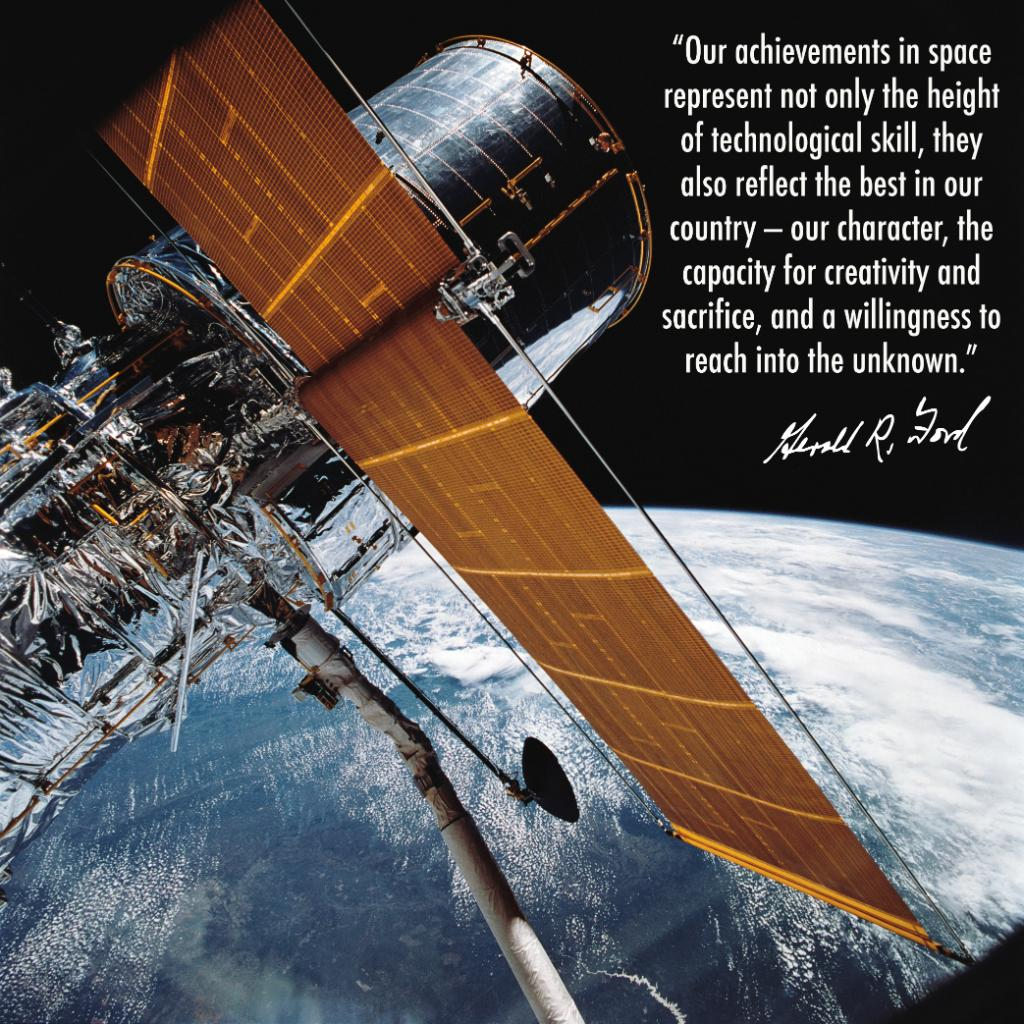 Happy #PresidentsDay! To celebrate, we share this inspirational quote from President Gerald Ford, who signed the budget that officially started the Hubble Space Telescope project.