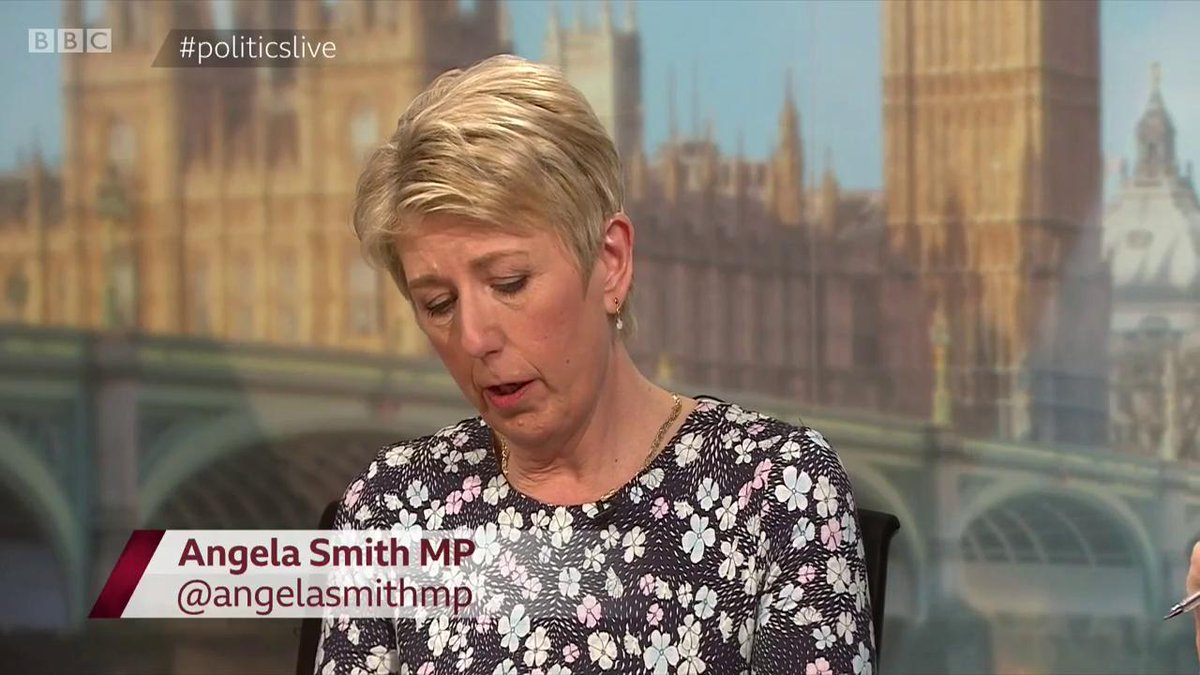 """""""I am very sorry about any offence caused, and I am very upset that I misspoke so badly. It's not what I am""""  @angelasmithmp apologises for appearing to say """"funny tinge"""" when talking about skin colour on #politicslive  Read more: http://bbc.in/2DPvX8k"""