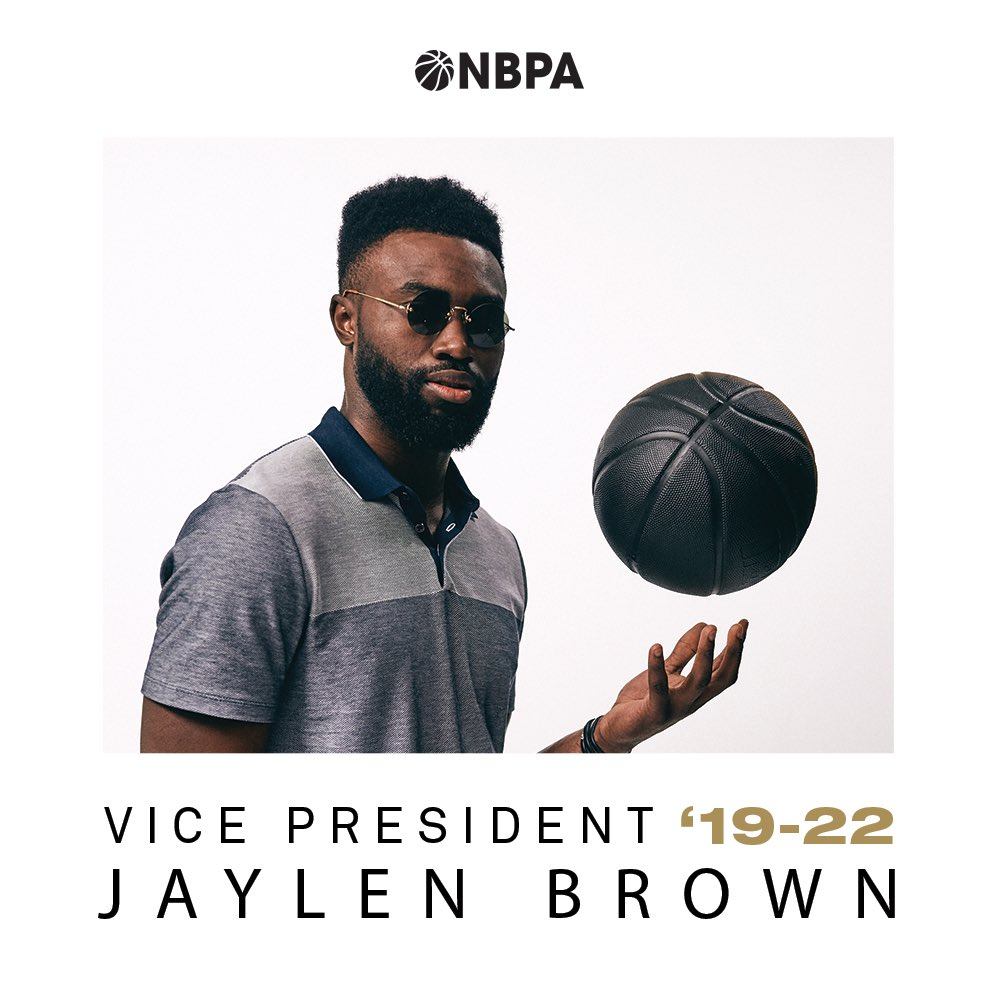 NBPA Vice President: Jaylen Brown   Formerly acting as the alternative @celtics Player Representative, @jaylenbrown has just been elected as an NBPA Vice President and will now serve his 3-year term on the Executive Committee.