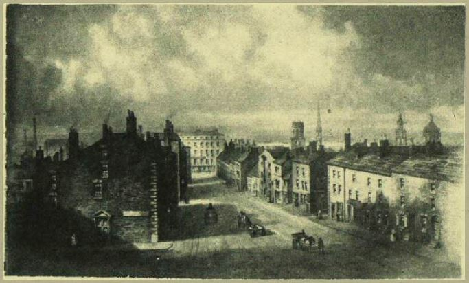 Ranelagh Street 1825 viewed from The Adelphi. To the left the future site of Lewis&#39;s. Above roof tops to the right, St Peter&#39;s, St George&#39;s, St Nicholas, and dome of Town Hall <br>http://pic.twitter.com/Tksyeh2qG1