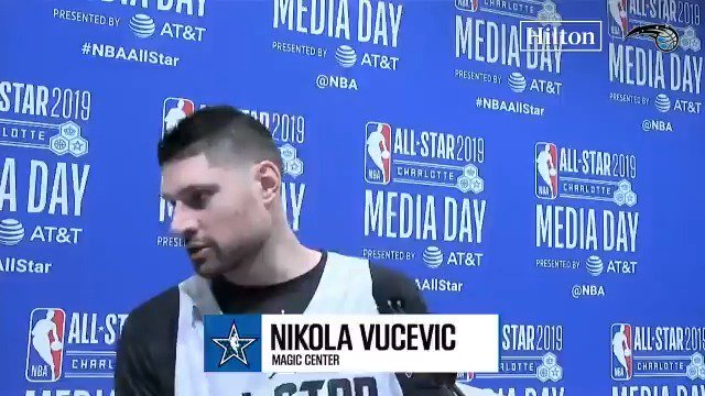 .@OrlandoMagic center Nikola Vucevic talks about his year thus far, his goals for the rest of the season, and playing in his 1st #NBAAllStar game at Media Day in Charlotte.  #NikolaVucevic #PureMagic #NBA