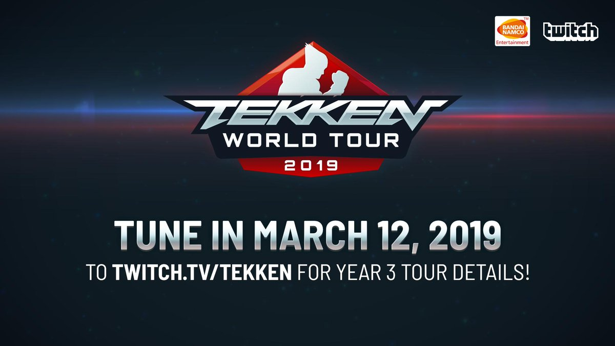 Want to know more about this year's TEKKEN WORLD TOUR? Tune into https://t.co/LQefILjifn on March 12th for full details! #TWT  Order #TEKKEN7 today and get ready for all the hard-hitting action:  https://t.co/sr60SE5JHh
