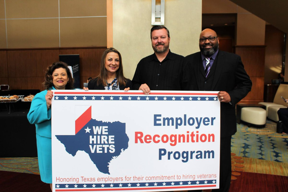 "Know of a Texas company committed to hiring veterans? The ""We Hire Vets"" program recognizes employers whose workforce is comprised of at least 10% #veterans or more. Nominate a deserving employer hiring our military heroes: http://www.TexasOperationWelcomeHome.com  #TOWH"