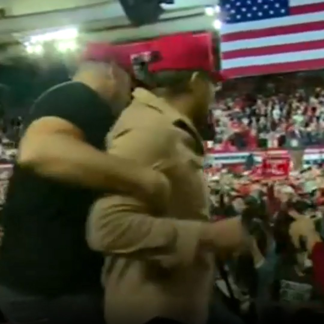 What's it like to be attacked at a @RealDonaldTrump rally?  Reporter @BBCBlindGazza was there. (includes some swearing).  https://bbc.in/2DSwoyL  #BeyondToday