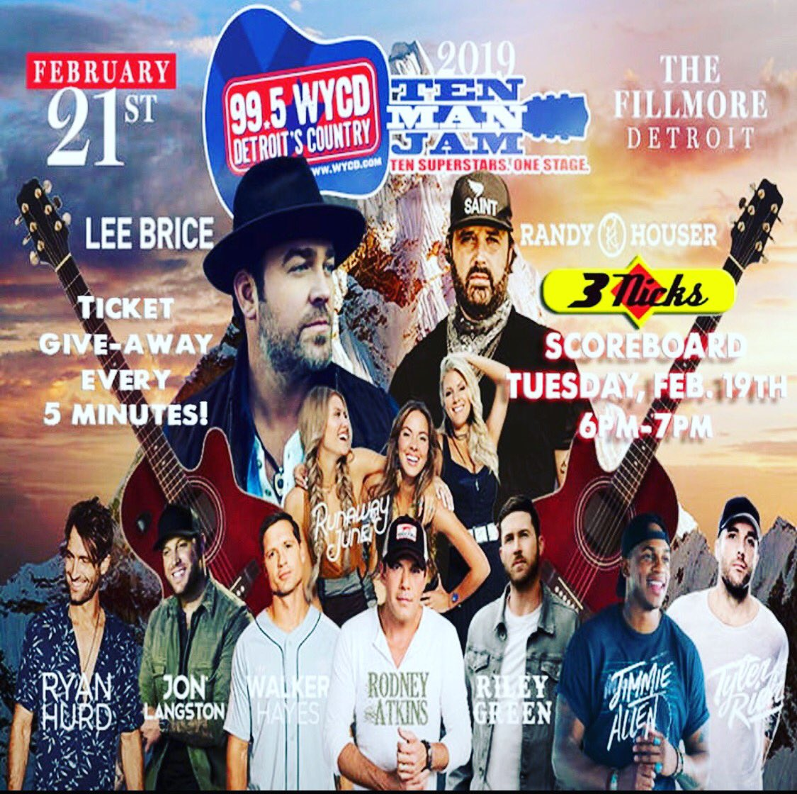 Join us tomorrow @ 6pm !! @995WYCD will be in the house giving away tickets to the Ten Man Jan every 5 minutes !! #livefrom #3nicksscoreboard #wycd #wintickets #tenmanjam #cheers