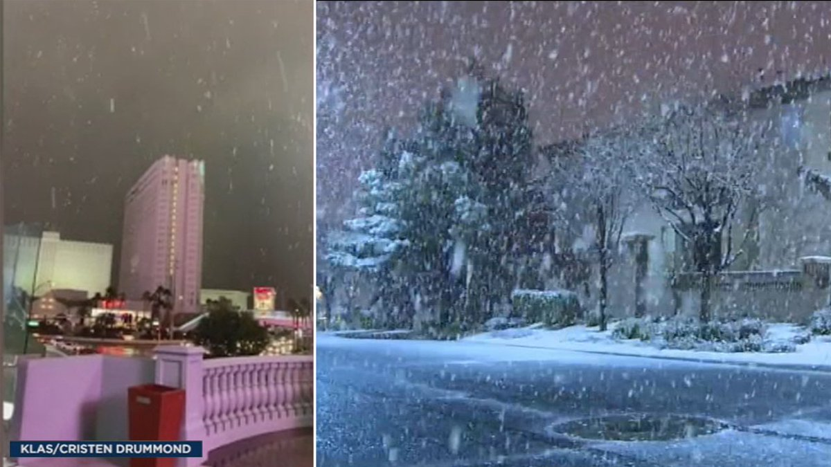 SNOW ON THE STRIP: Parts of Las Vegas are waking up to as much as 2 inches of snow today https://t.co/kDzGkui7fV