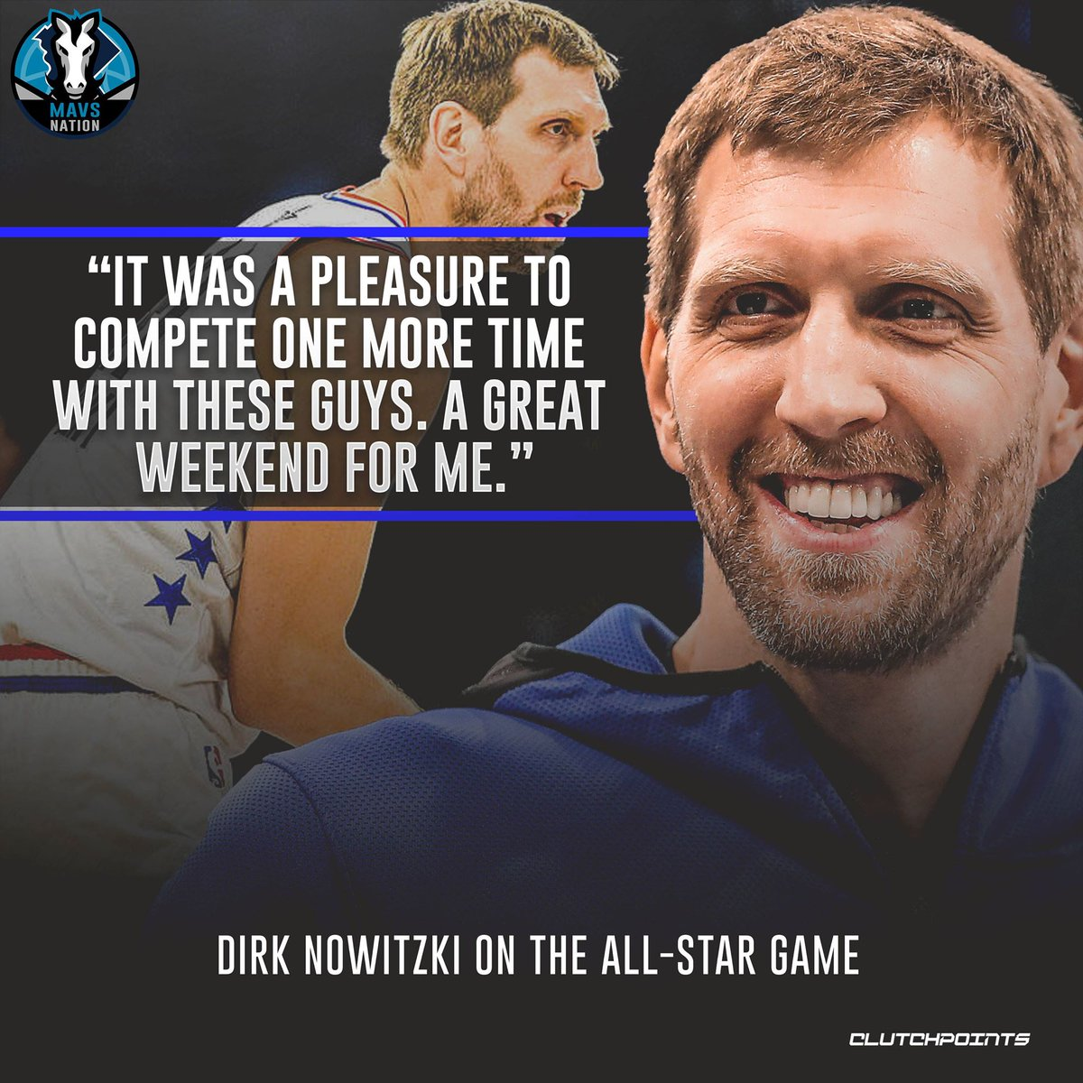 Dirk Nowitzki is very appreciative of his one last chance to play in the All-Star Game.  #Mavs #MFFL