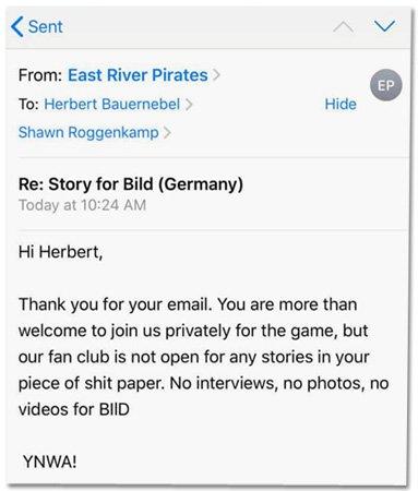 Ein @BILD-Reporter will über einen @fcstpauli-Fanklub in New York berichten. Aber der Fanklub will nicht. Und macht das dem 'Bild'-Reporter mit ziemlich deutlichen Worten klar. Der 'Bild'-Reporter geht trotzdem hin, es kommt zu einem hitzigen Streit: https://t.co/brBrvv4ruV  #fcsp