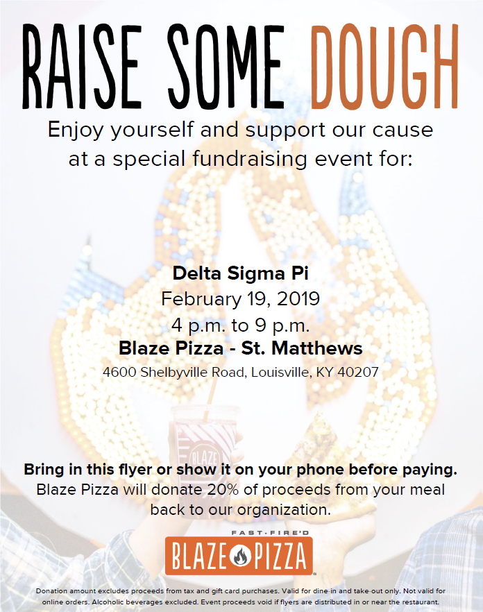 Eat at Blaze Pizza in St. Matthews Tomorrow and Support @deltasigmapi