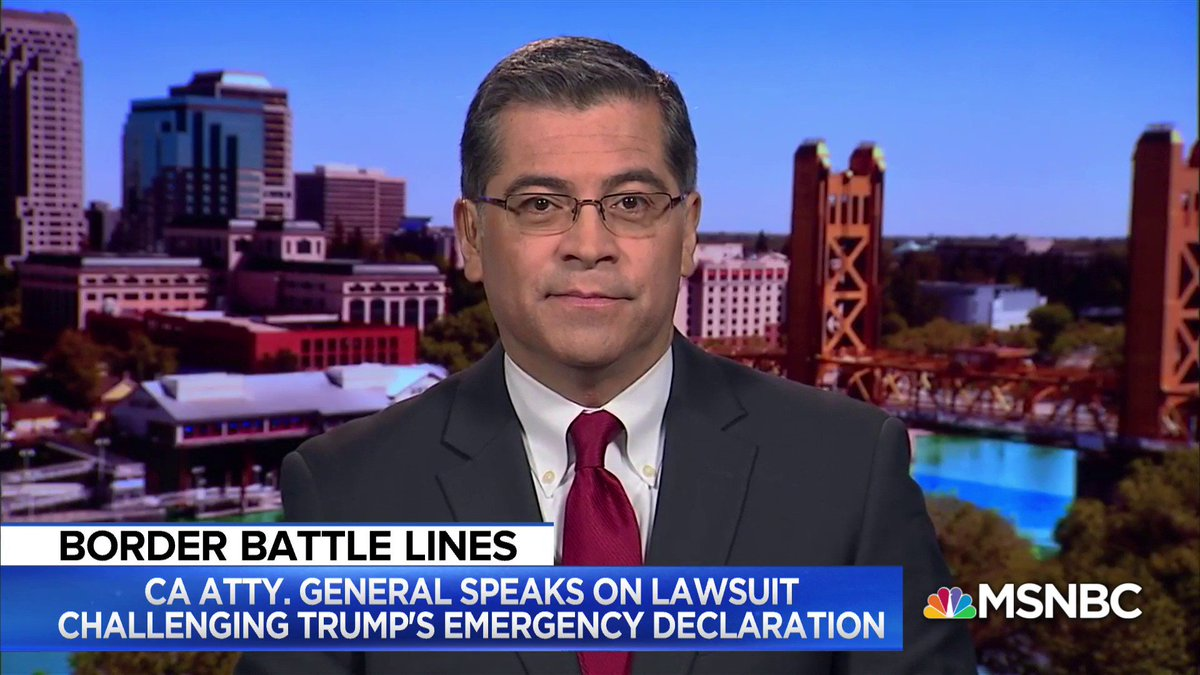 """JUST IN: California AG Becerra tells @mitchellreports he intends to file lawsuit today challenging President Trump's national emergency declaration: """"We'll be joined by at least a dozen states."""""""