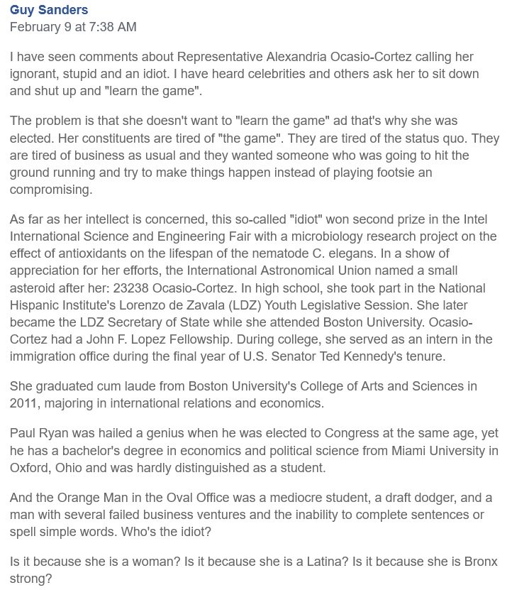"""RT @CarolenaMatus: Some interesting background info for the ignorant jackasses who persist  in labeling Alexandria Ocasio-Cortez as """"stupid."""" Educate yourself - if  you're capable of learning. Click on it to read the entire text and the author's name."""