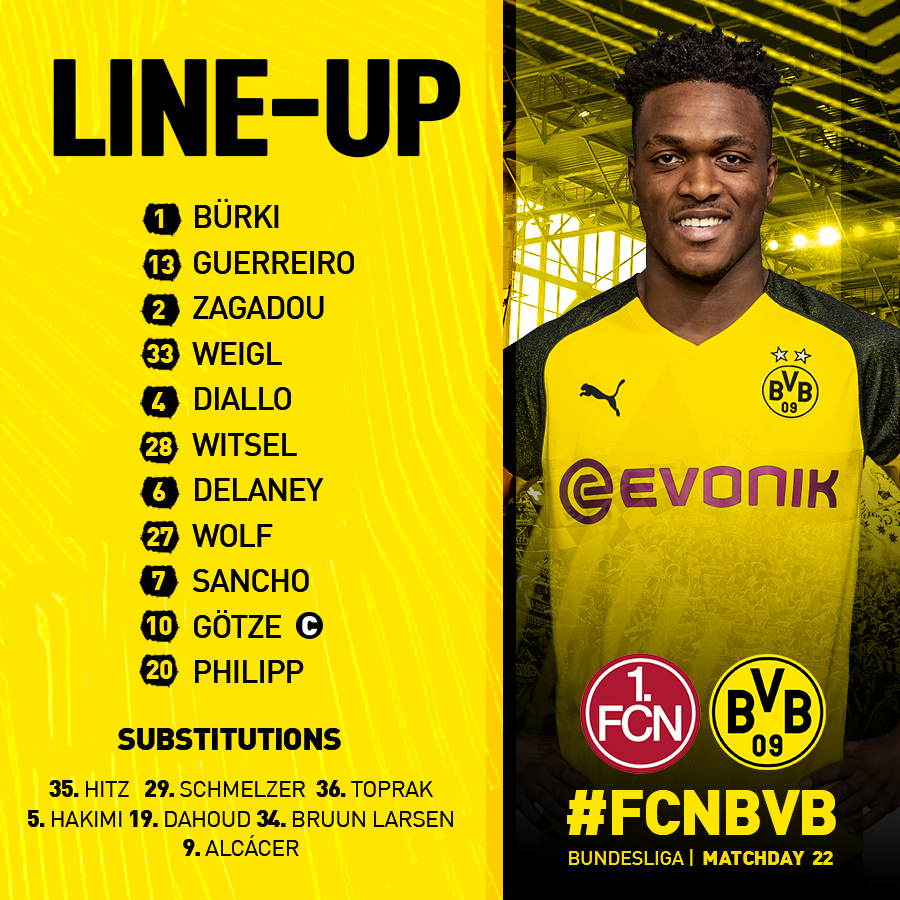 🚨 #BVB STARTING XI 🚨  LET'S GET IT!! 💪   #FCNBVB