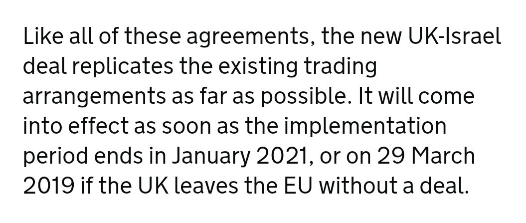 "3/ Also, the treaty is not a complete roll over. It only replicates the existing FTA ""as far as possible"". We don't know the details without seeing the text. It applies also in a no deal scenario."