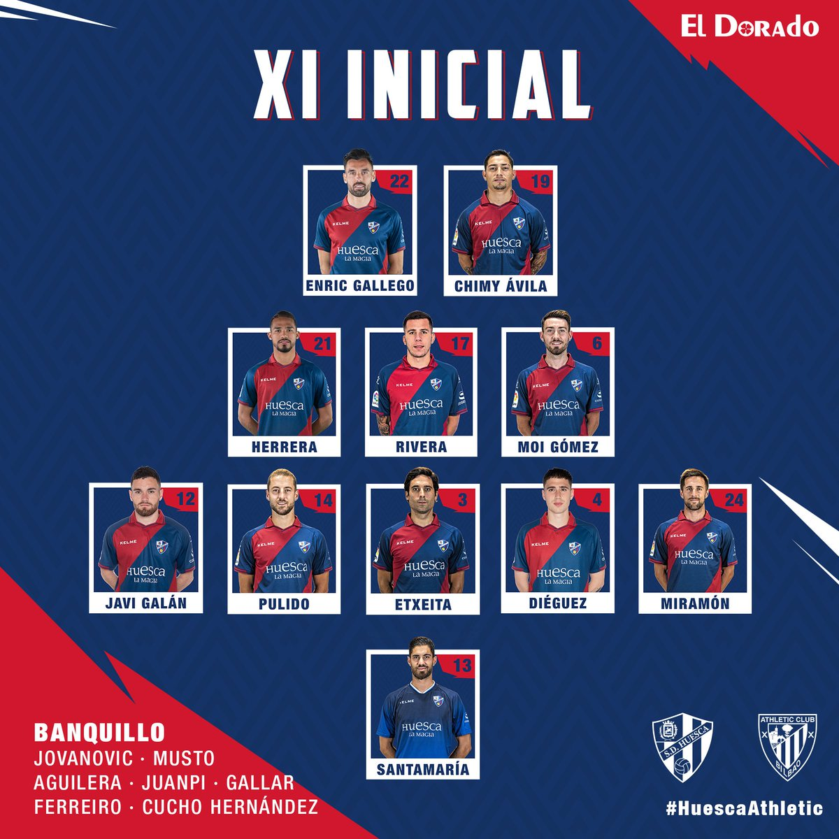 ALINEACIÓN | Estos son los once elegidos por Francisco para enfrentarse al @AthleticClub en la 24ª jornada de #LaLigaSantander 👇  #HuescaAthletic
