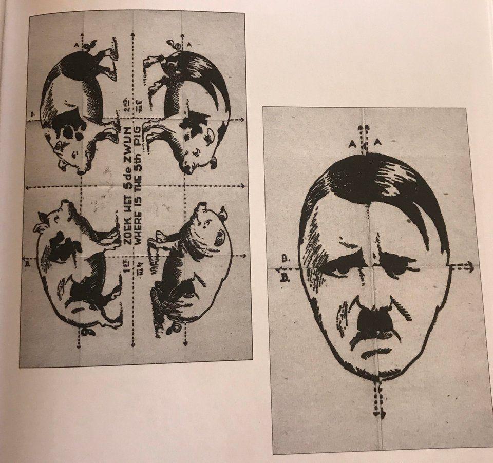 Durant la 2ème Guerre Mondiale, les Alliés ont redoublé de créativité. Voici un exemple avec ce tract qui représente 4 cochons et sur lequel est écrit 'Où se trouve le 5ème cochon ?'. Quelques pliages suffisaient à le trouver...