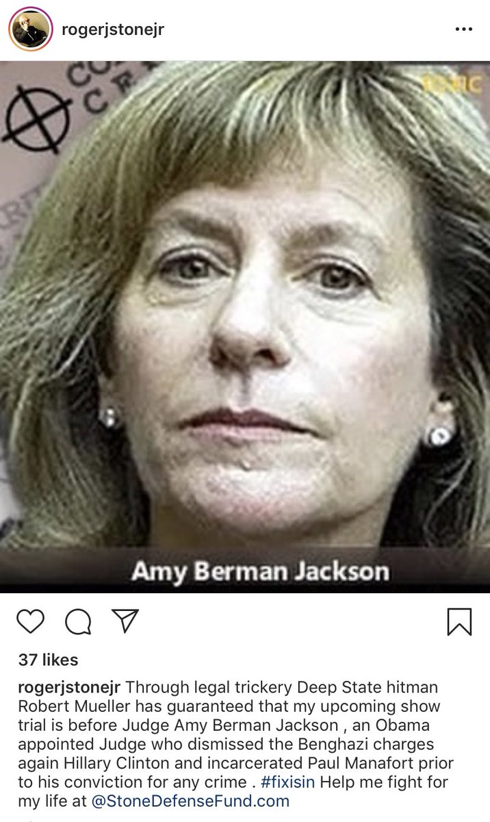 Roger Stone now directly attacking the federal judge presiding over his case and posting a pic of her head beside crosshairs