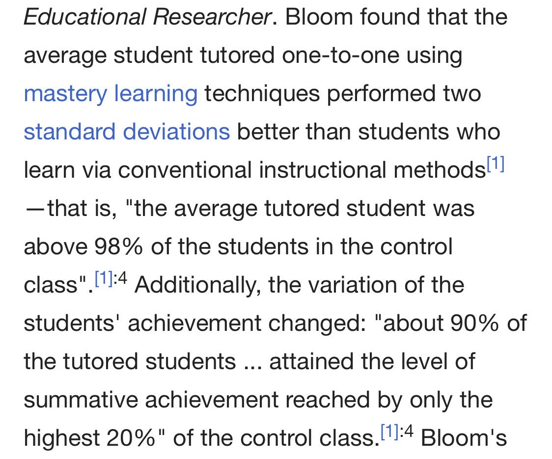 We introduced what we call Flex at Lambda School. It's actually a real-life application of Bloom's 2 Sigma Problem:  Students with mastery learning and one on one tutoring perform TWO STANDARD DEVIATIONS better than students learning under conventional methods