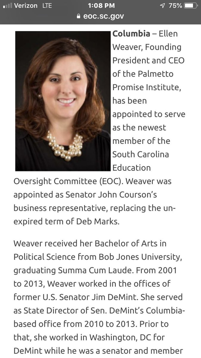 The education bill introduced by the house & senate this year clearly draws heavily from the plans of Ellen Weaver, who is the founder of Palmetto Promise, an educational policy organization that's true purpose is the dismantling of public education through tax credits, etc. (1)