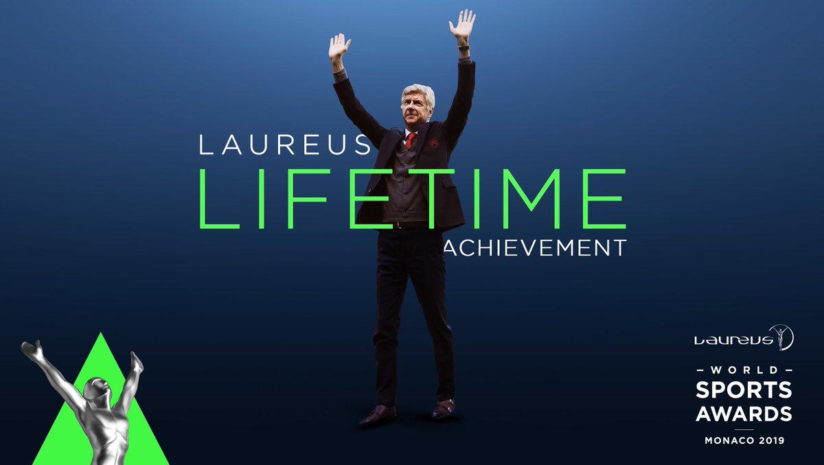 🏆🏆🏆 Premier League 🏆🏆🏆🏆🏆🏆🏆 FA Cups 1️⃣ Invincible season  A visionary, one of a kind, the #Laureus19 Lifetime Achievement recipient, Arsene Wenger 👌  #MerciArsene