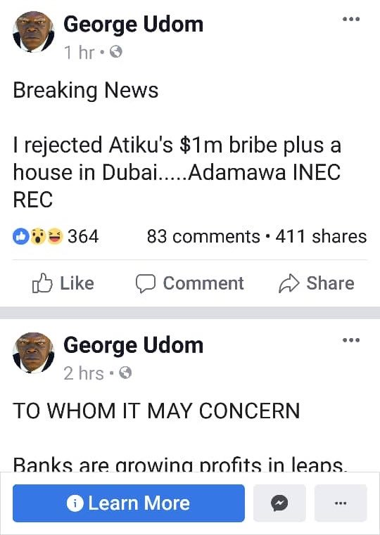 FAKE NEWS ALERT The Adamawa INEC REC completely disassociates himself from the allegation that he had an offer of $1m and a house in Dubai as no offer whatsoever was ever made to him by any one. #NigeriaDecides2019