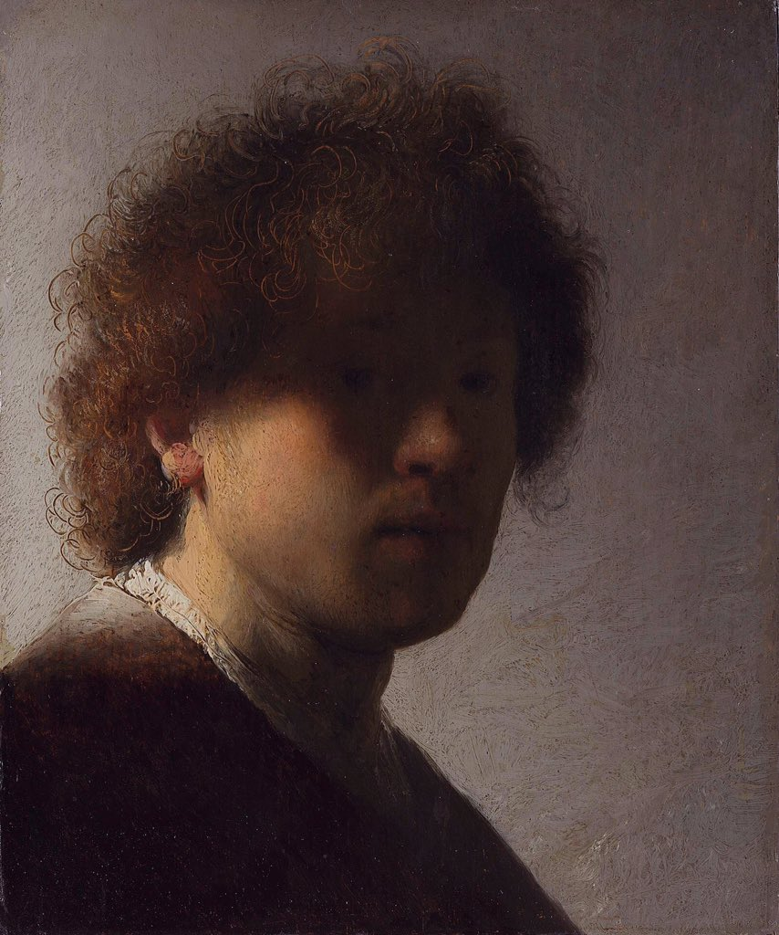 """#Rembrandt e il suo gusto per una materia pittorica """"fisica"""". Qui la sua idea di luce, la sua nuova visione, il suo particolare concetto della realtà che diventa materia. Era solo 20enne 📸Autoritratto con capelli scompigliati 1628c Rijksmuseum #MuseoIdeale @artdielle  @Asamsakti"""