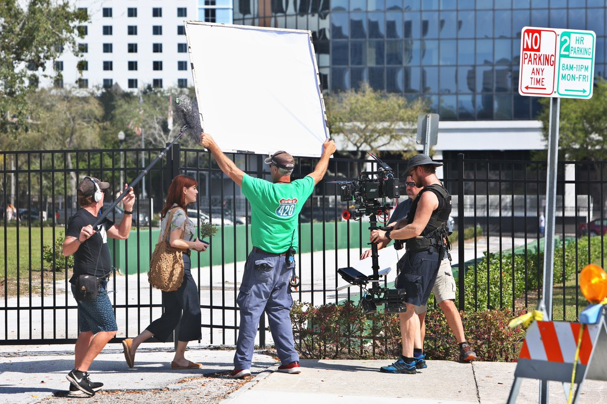 Actors Jordon Bridges and Sara Rue film a Hallmark Original Movie of the Week, Garden Party, Monday 2/18/19 on 5th St S. @StPeteFL.  Scheduled to air April 2019. Rue's character has created a community garden which is threatened by development. Can she save it? @hallmarkchannel