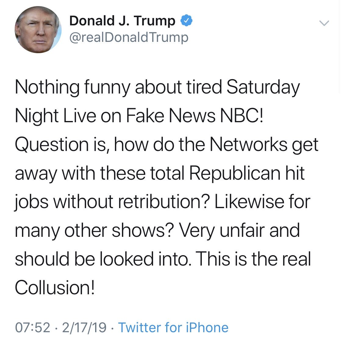 "When a President of the United States asks for ""retribution"" against @nbcsnl and calls @FBI agents ""treasonous,"" one has to wonder about his faculties."