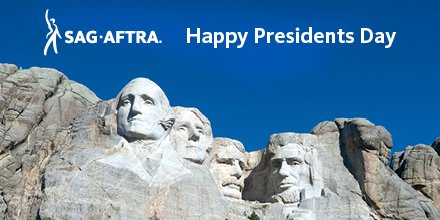 Reminder: In observance of #PresidentsDay, SAG-AFTRA offices will be closed Monday, Feb. 18.