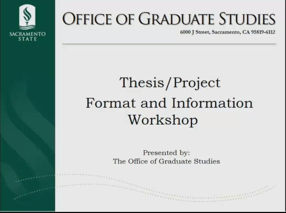 csus thesis formatting workshop