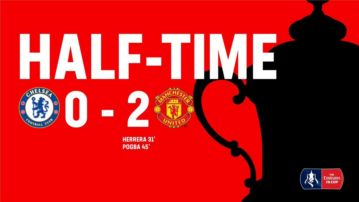 HT: @ManUtd lead by 2⃣ goals as we head into the break.