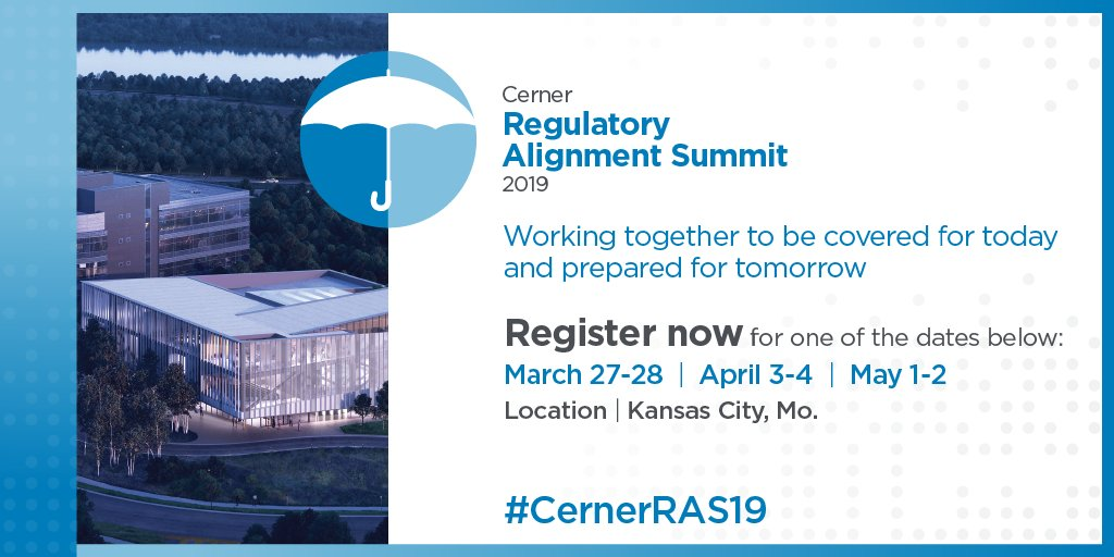The Cerner Regulatory Alignment Summit (#CernerRAS19) can prepare you for an ever-changing #regulatory environment by examining ongoing efforts to promote price transparency, increase interoperability and end the opioid crisis.   Register today: http://bit.ly/2tpPuHs