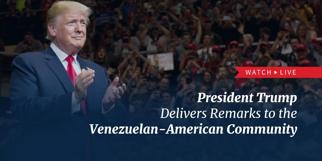 This afternoon, President @realDonaldTrump will deliver remarks to the Venezuelan-American community in Miami, Florida. Watch LIVE at 4:25 p.m. ET: http://45.wh.gov/RtVRmD