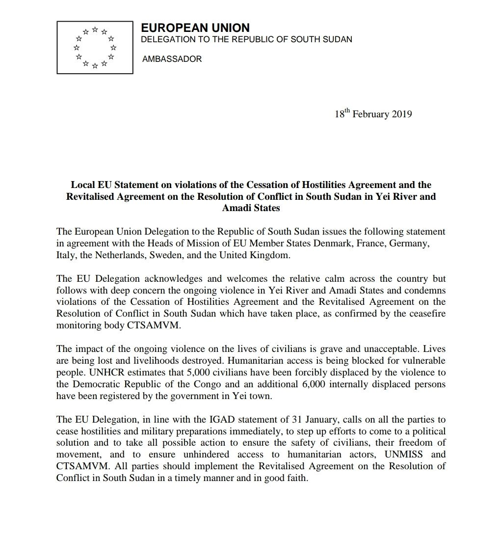 2day EU Heads of Mission; EU, Denmark, France, Germany, Italy Netherlands, Sweden & UK issued a local statement on violations of the Cessation of Hostilities Agreement and the Revitalised Agreement on the Resolution of Conflict in #SouthSudan in Yei River and Amadi State.