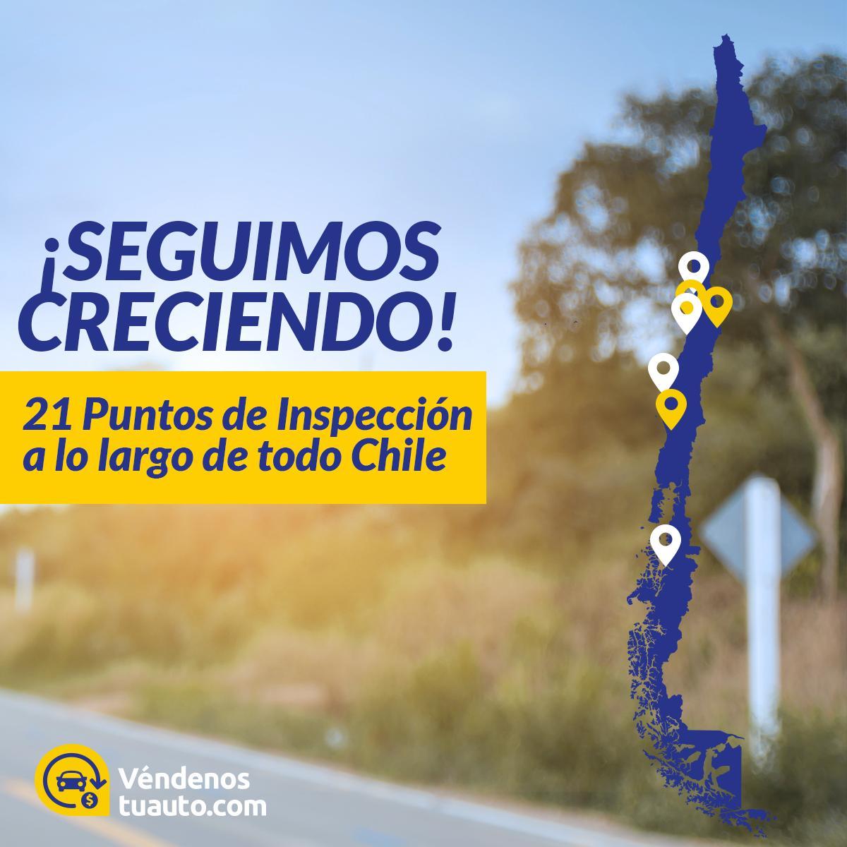 📣¡Seguimos creciendo! Ya tenemos 21 puntos de inspección distribuidos por todo el país, estamos presente en 8 ciudades y vamos por más... ¡Somos lideres en la compra inmediata de autos usados en Chile! 🚗💰 https://t.co/pT7QdbA8vY