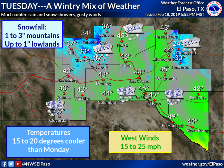 710pm Big changes in store Tuesday as winter returns to the Borderland. #txwx #nmwx  https://t.co/jx3mV2NbPs