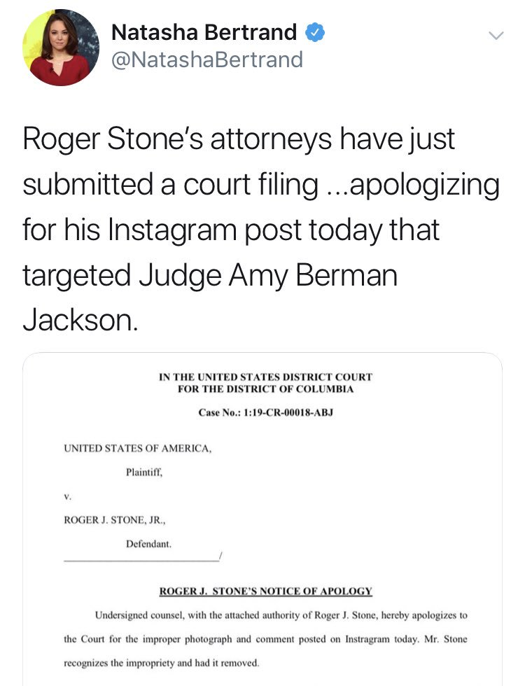 Roger Stone's lawyers are apologizing ... in a court filing.  Meanwhile, Roger Stone is on Facebook claiming it wasn't that bad.