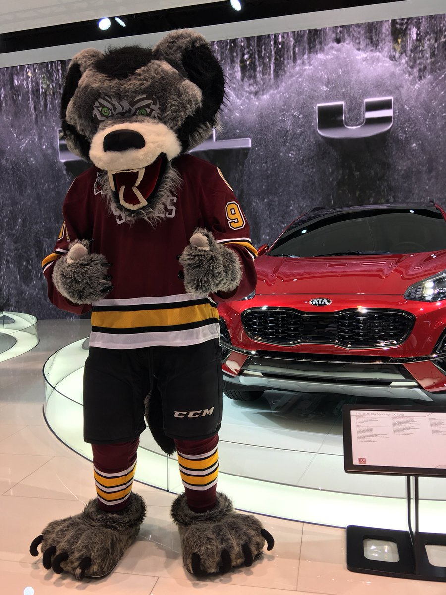 Skates had so much fun hanging out with @Kia at the @ChiAutoShow today! We're thinking Skates could easily join the hamster bros as their newest mascot? 😏 #Wolves25