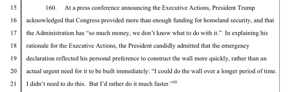 "There it is. On Page 30 of the lawsuit against Trump's emergency declaration is Trump's line from Friday, ""I didn't need to do this."" https://bit.ly/2DVxERl"