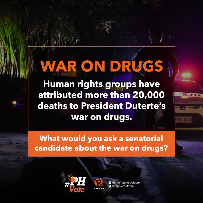 What would you ask a senatorial candidate about the war on drugs?  Catch Rappler and Ateneo School of Social Sciences' #TheLeaderIWant Senatorial Forum on March 4 at Leong Hall in Ateneo de Manila. Tune in to Rappler for more updates!  #PHVote