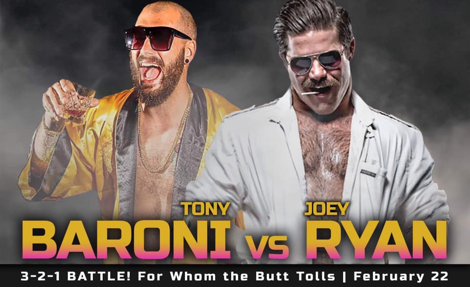 "This Friday night at 3-2-1 Battle! For Whom The Butt Tolls, the ""King of Dong Style"" Joey Ryan returns to the Battle Palace to take on ""Uncle Daddy"" Tony Baroni! Advanced seating is gone, but standing room will be available at the door for this epic clash of sleaze! #SOLIDSTEEL"
