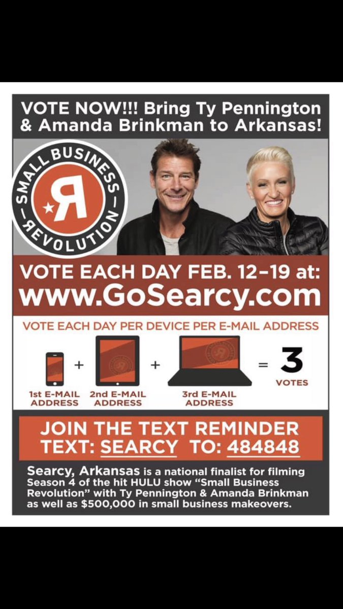 @adamlevine help Searcy, Ar. Win a $500,000 small business makeover  we only have until Feb 19th to get as many votes as possible and Beat Durant, Ok. Who has Blake Shelton collecting votes for them!! It's a close race &amp; you can help us #mysearcy #readyforarevolution #vote<br>http://pic.twitter.com/RPUv7ku8Qz