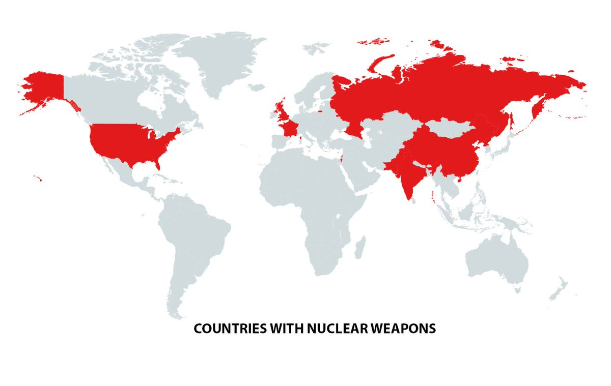 IMAGE: Countries with nuclear weapons. https://t.co/FLa6XKomCC