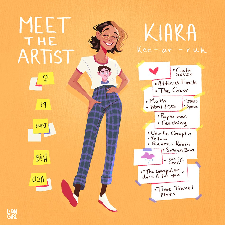 Hi #VisibleWomen, I&#39;m Kiara! I love colors, character-driven stories, and learning   I have a blog where I share art tips and resources for people who are learning on the internet like me:  http:// liongirllostandfound.blogspot.com / &nbsp;     http:// instagram.com/liongirlkiara/  &nbsp;    kiara.harrism@gmail.com<br>http://pic.twitter.com/ek7CrC9hBH