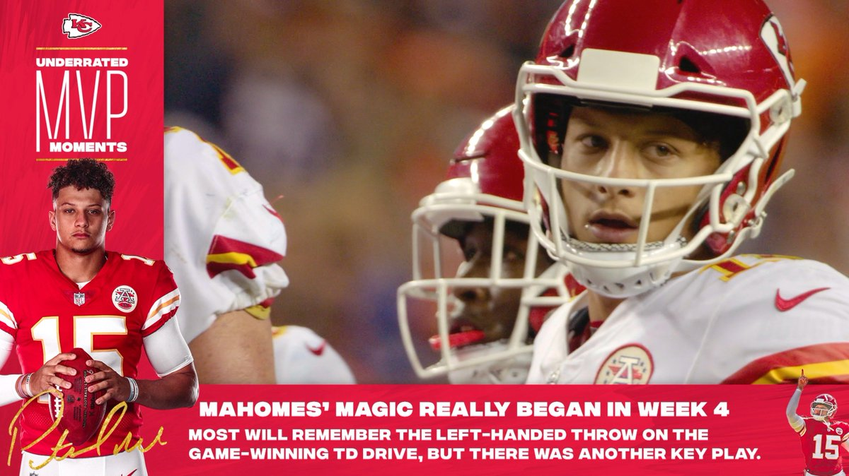 Everyone remembers the left-handed throw to Tyreek Hill. Who wouldn't?  Yet, @ChiefsReporter reminds us that #MVPat overcame a 2nd and 30 on the same drive, making it an underrated moment ⬇️