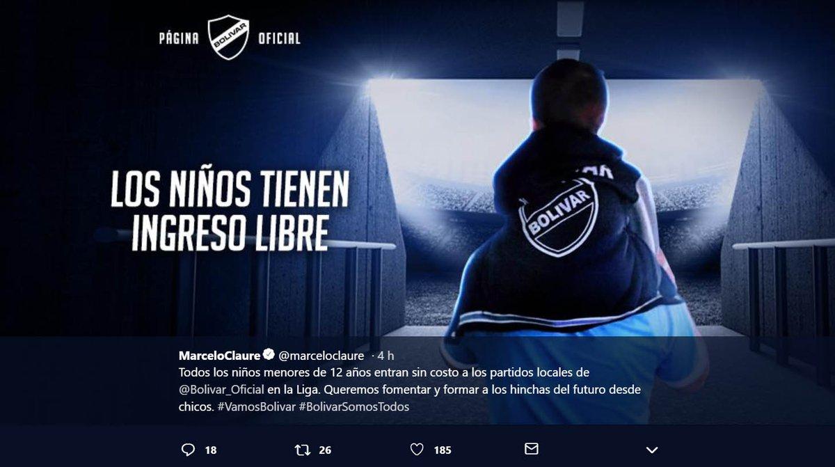 #ÚLTIMO an@marceloclaureunció que 'todos los niños menores de 12 años entrarán sin costo a los partidos locales de  en@Bolivar_Oficial la Liga'.  #Bolivia
