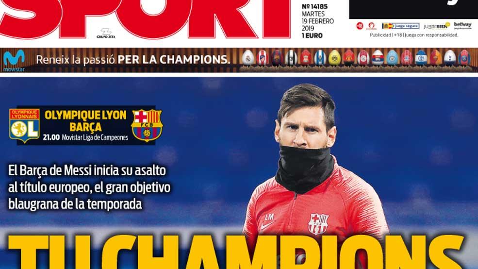 Tu Champions #PortadaSPORT   https://t.co/ePrkepmEO5