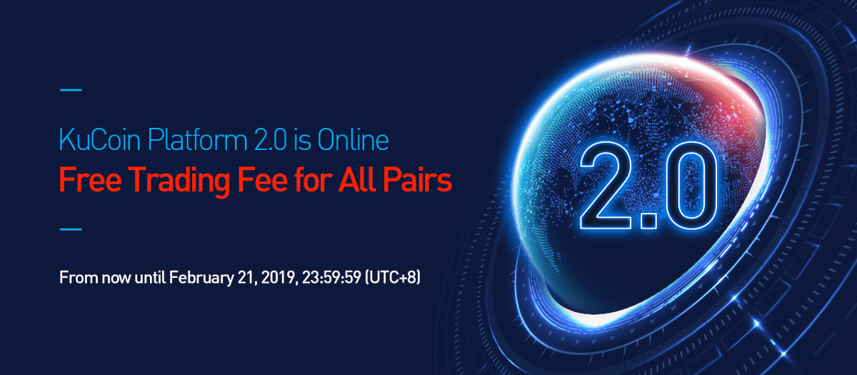 KuCoin has announced the completion of Platform 2.0 upgrade. To celebrate the launch of Platform 2.0, KuCoin's trading fees will be waived for all DATx trading pairs for the next 3 days (until the end of 21st, Feb, UTC+8). Happy trading on #KuCoinV2!