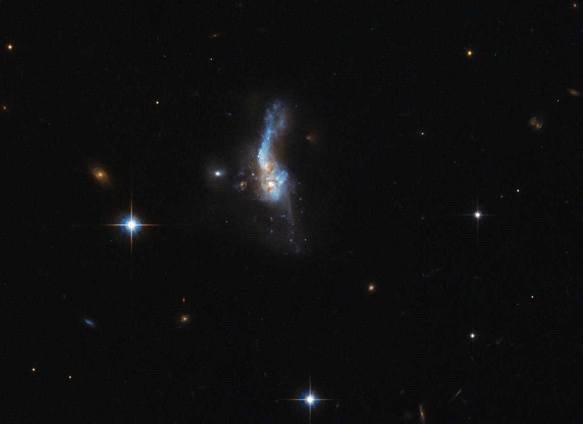 ESA/Hubble #Flashback: The celestial object imaged here is actually a combination of two gas-rich spiral galaxies. Credit: @esa / @HUBBLE_space / @NASA  https://t.co/P43BiFXah7