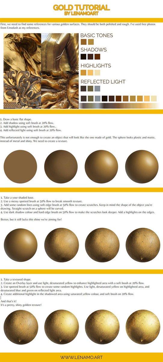 Gold tutorial by Lenamoart on deviantart!!<br>http://pic.twitter.com/WTWpiURRsH